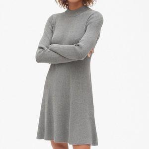 Ribbed Mockneck Skater Dress in Heather Grey